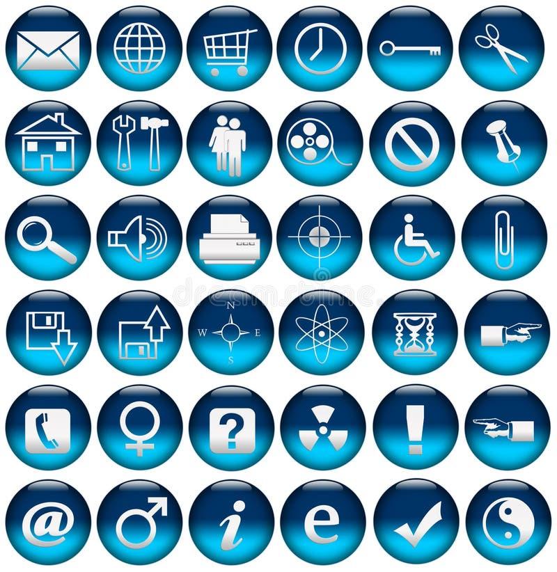 De de blauwe Pictogrammen/Knopen van het Web royalty-vrije illustratie