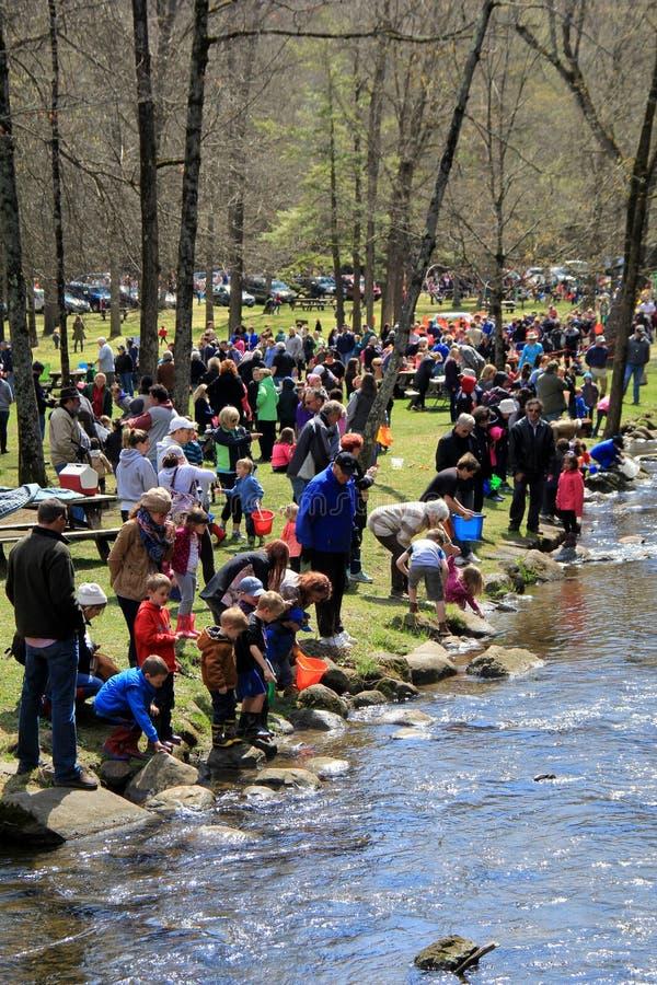 De de buurtkinderen en volwassenen die de stroom met vissen, Saratoga helpen opnieuw bevoorraden springen het Park van de Staat,  royalty-vrije stock afbeelding