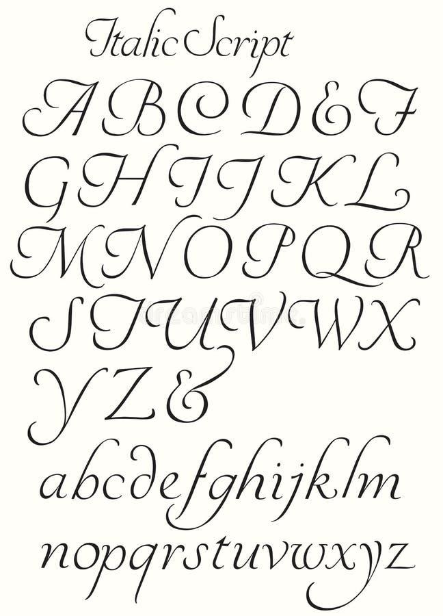 De de cursieve Kapitalen en Kleine letters van het Manuscriptalfabet stock illustratie