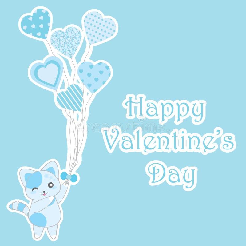 De de dagillustratie van Valentine ` s met leuke blauwe kat brengt liefdeballons op blauwe achtergrond royalty-vrije illustratie