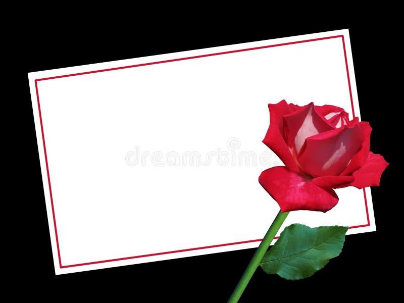 De de Dagkaart van leeg Valentine met Rood nam toe royalty-vrije stock afbeeldingen