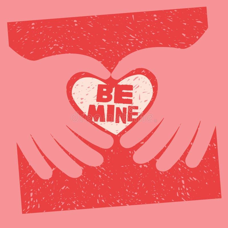 De de Dagkaart van Valentine met bericht is Mijn royalty-vrije illustratie