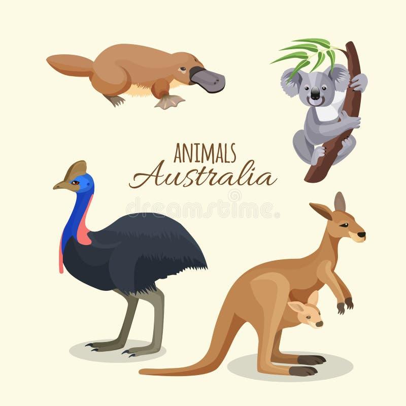 De de diereninzameling van Australië van bruine kangoeroe, grijze koala en duckbilled stock illustratie