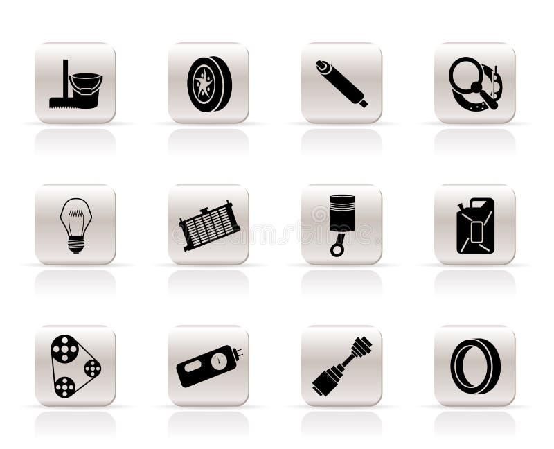 De de eenvoudige Delen van de Auto en pictogrammen van de Diensten royalty-vrije illustratie