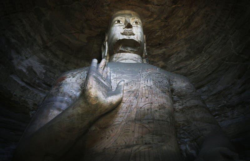 de 5de Eeuw Boeddhistisch standbeeld Yungang China stock foto