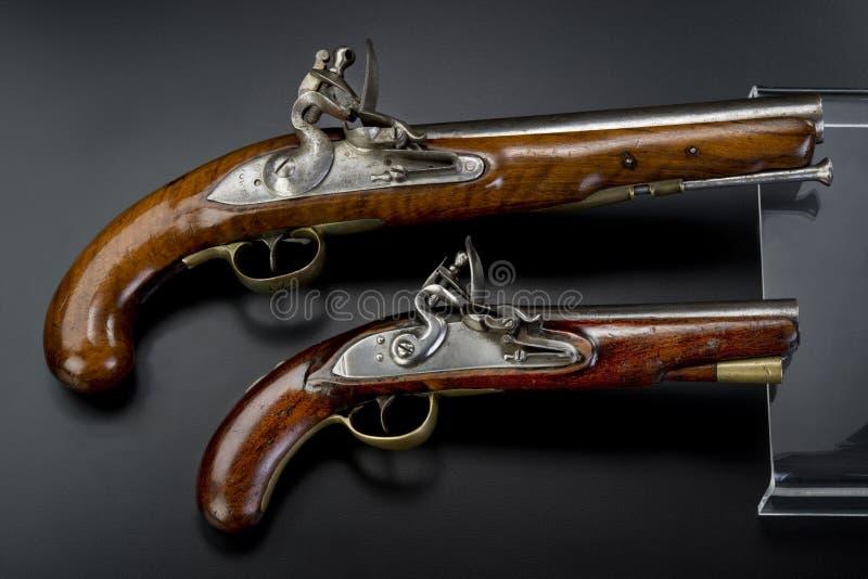 de 18de Eeuw Britse Flintlock Pistolen. royalty-vrije stock afbeeldingen