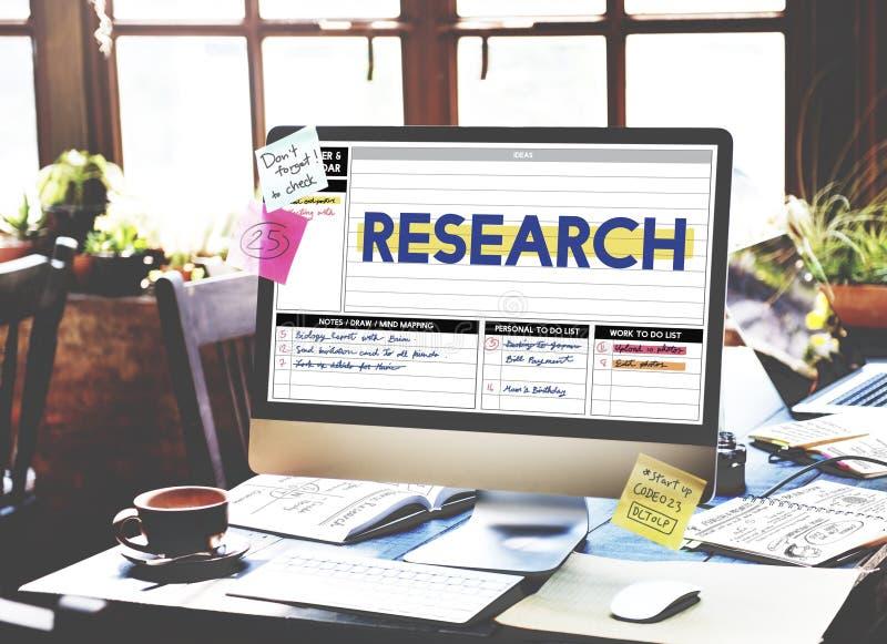 De de Exploratieontdekking van het onderzoekrapport vloeit Concept voort stock afbeeldingen