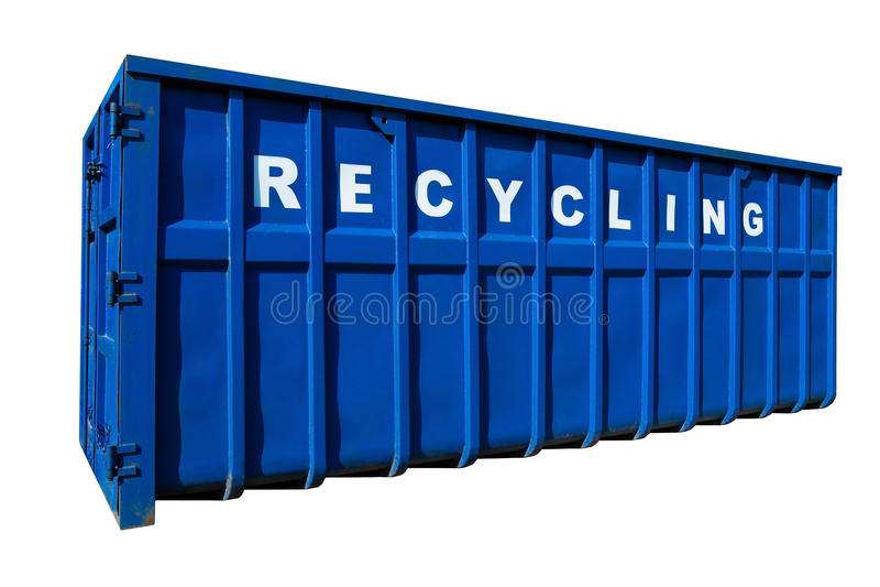 De de geïsoleerde zaken, container en de ecologie van het recycling stock fotografie