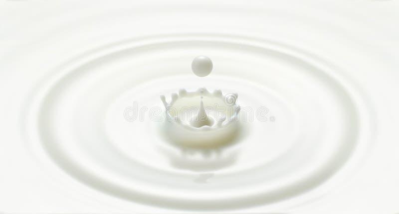 De de gecre?ërde rimpeling en plons van de melk daling in kroonvorm stock fotografie