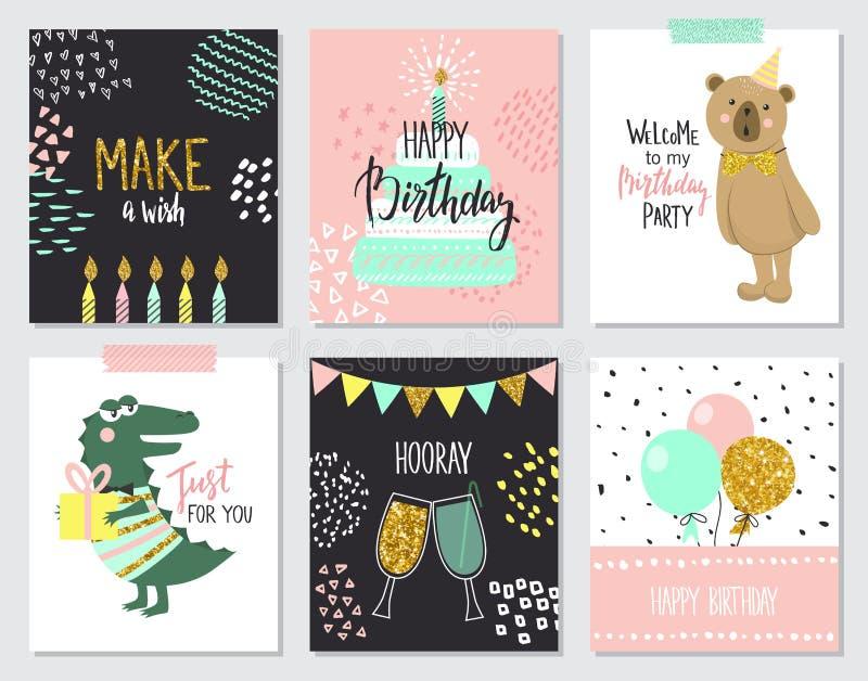 De de gelukkige kaarten van de verjaardagsgroet en malplaatjes van de partijuitnodiging, illustratie Hand getrokken stijl vector illustratie