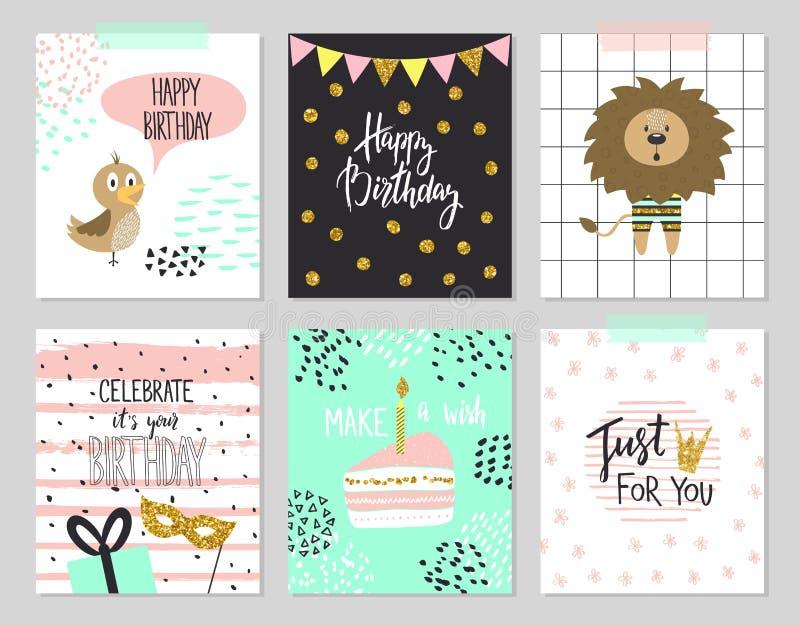 De de gelukkige kaarten van de verjaardagsgroet en malplaatjes van de partijuitnodiging, illustratie Hand getrokken stijl stock illustratie