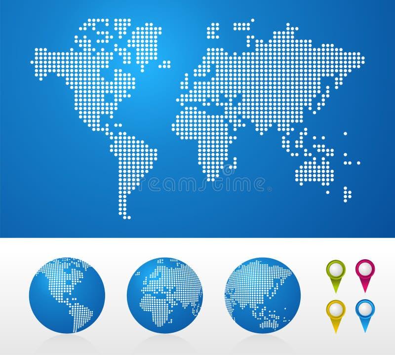 De de gestippelde kaarten en bollen van de Wereld royalty-vrije illustratie