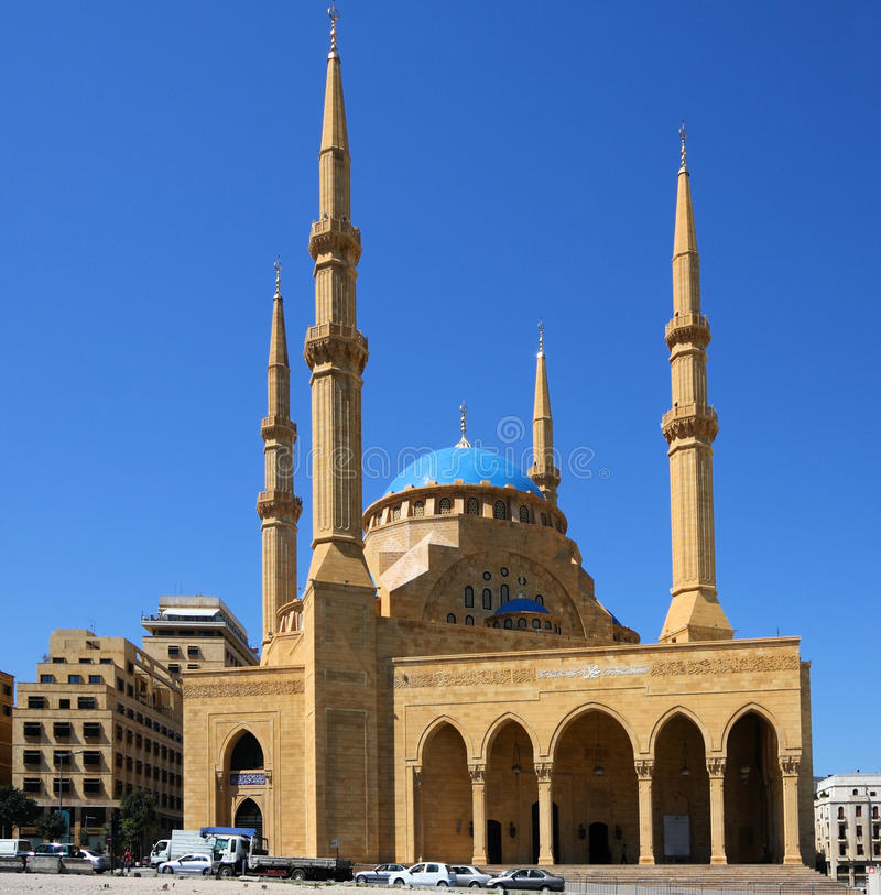De de Gr-amine van Mohammed Moskee (Beiroet-Libanon) stock afbeeldingen
