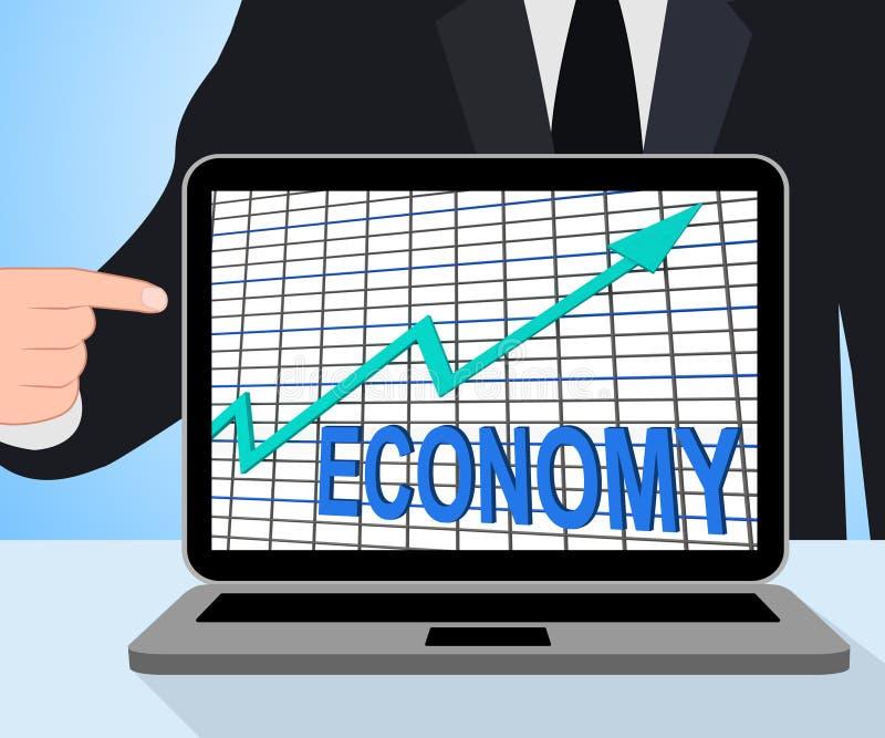 De de Grafiekvertoningen van de economiegrafiek verhogen de Economische Fiscale Groei vector illustratie