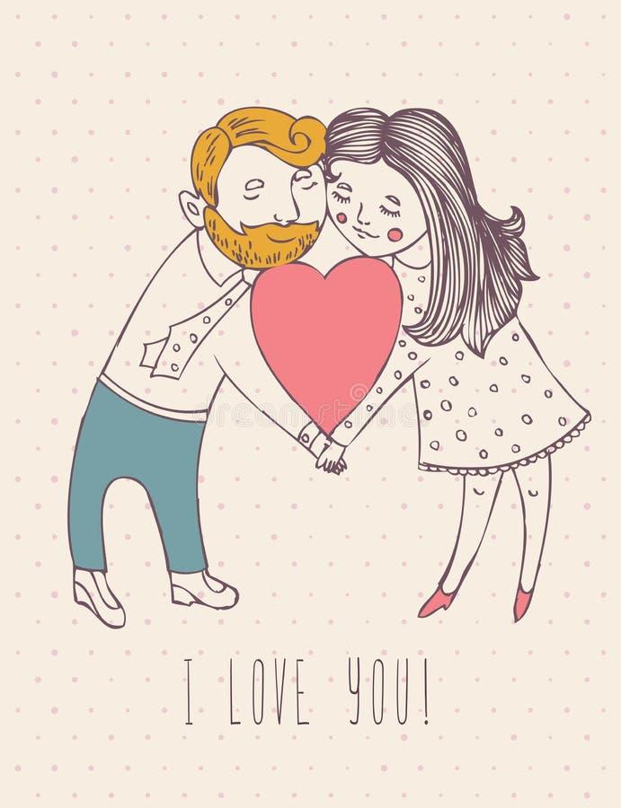 De de groetkaart van de valentijnskaartendag in wijnoogst hipster ontwerpt met leuk jongen en meisje Ik houd van u retro nota Han stock illustratie