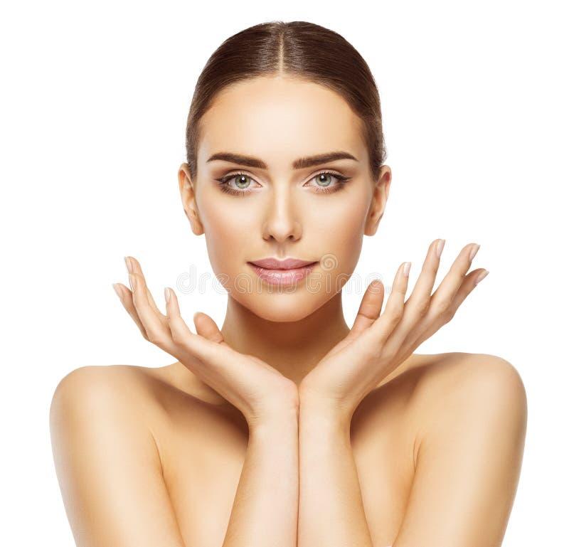 De de Handenschoonheid van het vrouwengezicht, de Mooie Make-up van de Huidzorg, maakt omhoog royalty-vrije stock fotografie