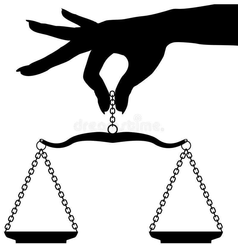 De de handholding van de persoon weegt schaalsaldo stock illustratie