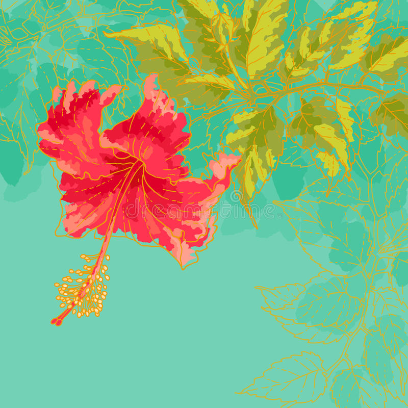 De bloem van de hibiscus op gestemde achtergrond vector illustratie
