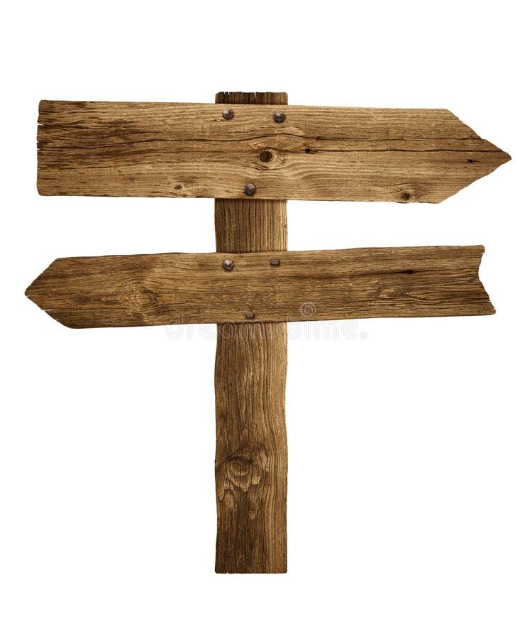 De de houten post of weg van het pijlteken voorziet van wegwijzers royalty-vrije stock foto
