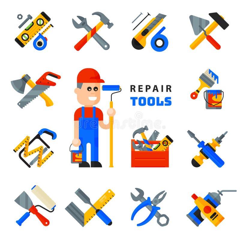 De de hulpmiddelenpictogrammen die van de huisreparatie bouwmateriaal plaatsen en de mensenkarakter werken van de de dienstarbeid vector illustratie