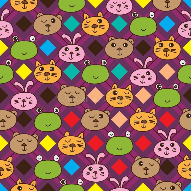 De de kattenkikker van de diamantlijn draagt konijn naadloos patroon vector illustratie