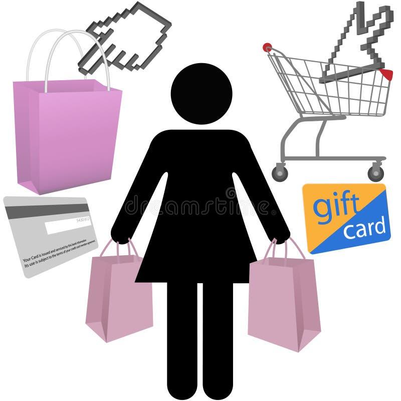 De de klantenwinkel van de vrouw koopt geplaatste symboolpictogrammen vector illustratie