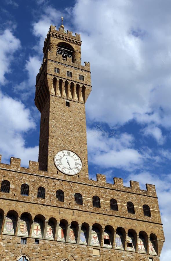 De de klokketorenbouw van Florence Historic in het belangrijkste stadsvierkant stock afbeeldingen