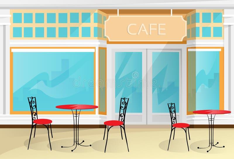 De de Koffiewinkel van de koffiestraat zit Lijstvector voor royalty-vrije illustratie