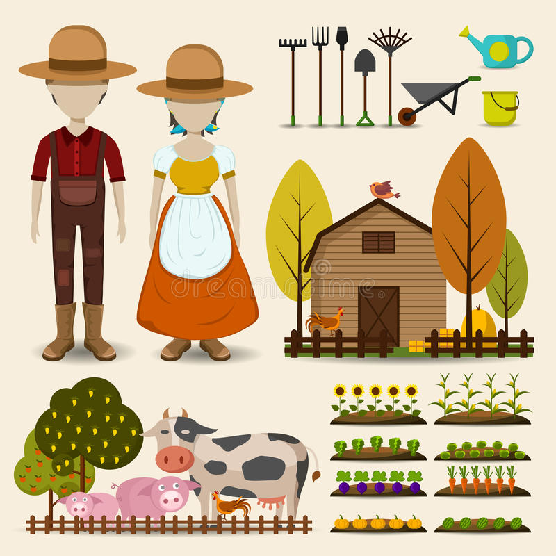 De de landbouwlandbouw en de collectrionreeks van het veepictogram bestaan uit royalty-vrije illustratie