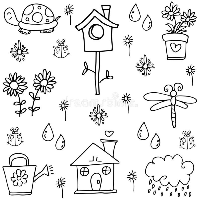 De de lentekrabbels met hand worden geplaatst die trekken stock illustratie