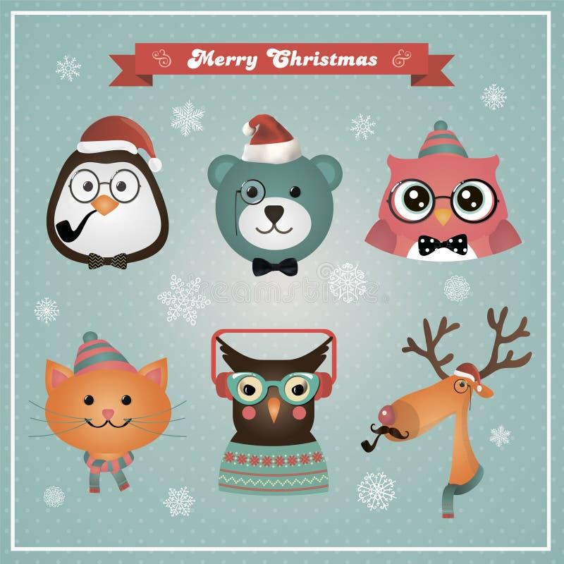 De de leuke Dieren en Huisdieren van Hipster van de Kerstmismanier vector illustratie