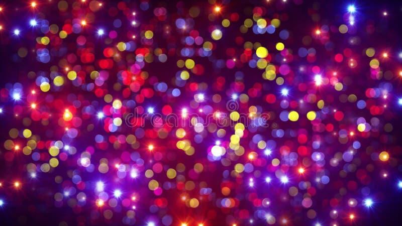 De de lichte flitsen en bokeh achtergrond van de discopartij