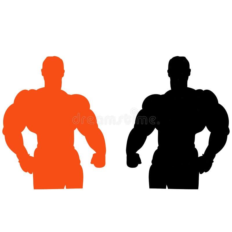 De de mannelijke sinaasappel en zwarte van het bodybuildersilhouet, op witte backgro vector illustratie