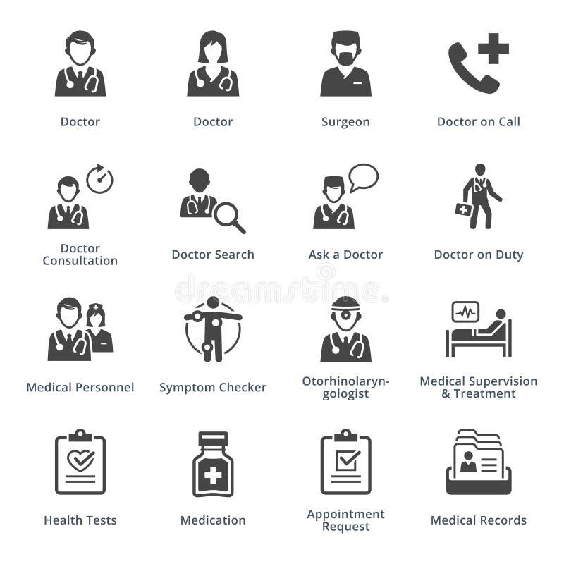 De de medische Dienstenpictogrammen plaatsen 3 - Zwarte Reeks royalty-vrije illustratie