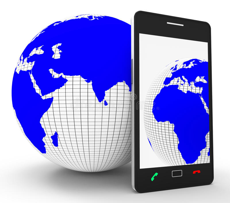 De de Middelenwebsite wereldwijd van de Telefoonverbinding en Globalize stock illustratie