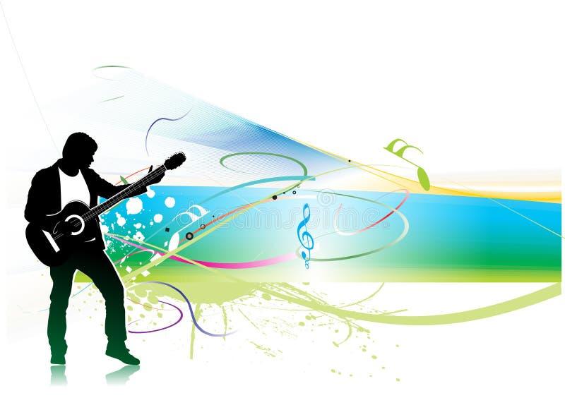 De de muziekmensen van het silhouet spelen een gitaar met kleurengolf royalty-vrije illustratie