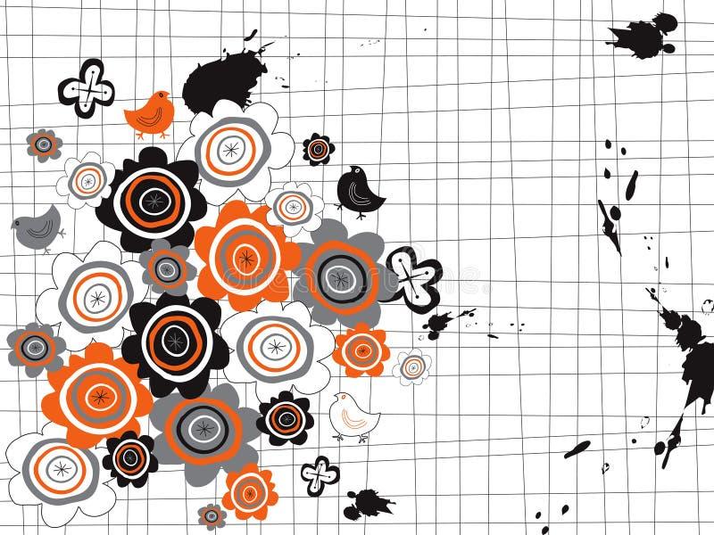 De de oranje bloemen en kuikens van Grunge vector illustratie