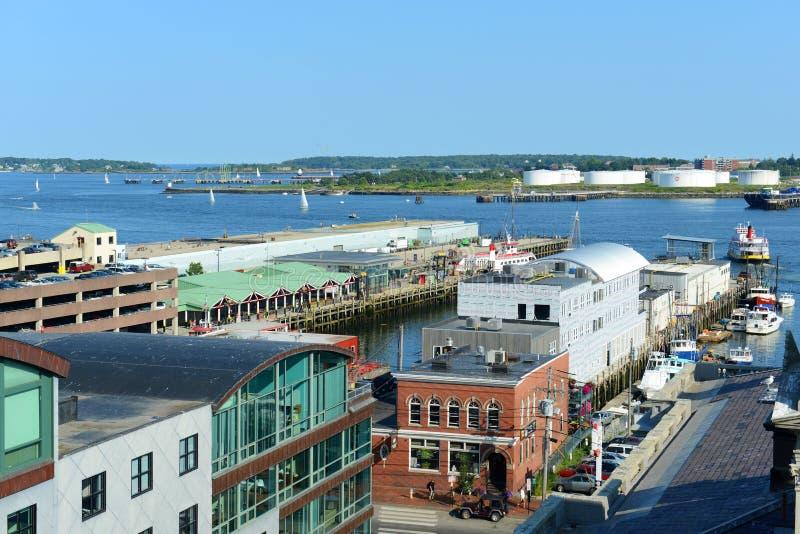 De de Oude Haven van Portland en Haven van Portland, Maine, de V.S. stock foto