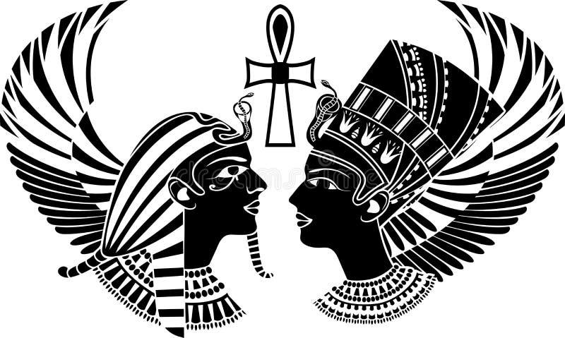 De de oude koning en koningin van Egypte vector illustratie