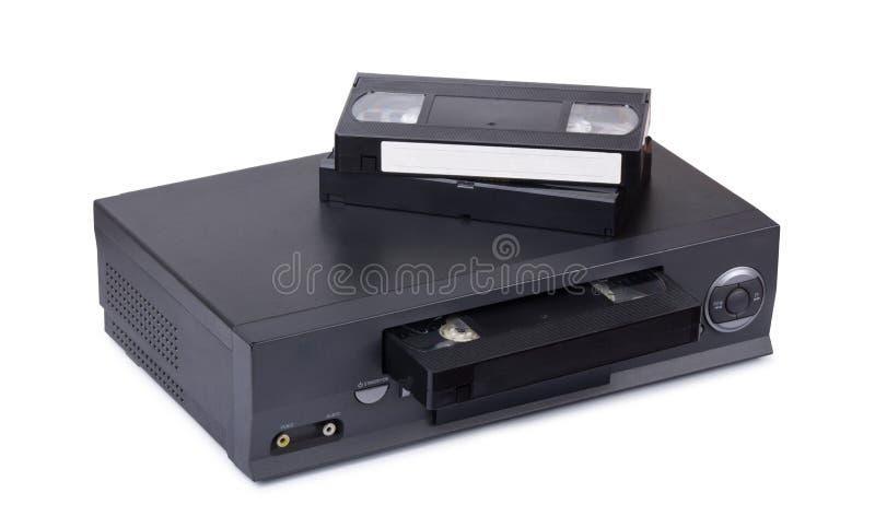De de oude videorecorder en cassettes van VHS royalty-vrije stock foto's