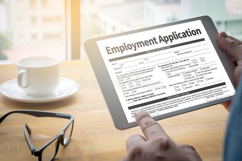 De de Overeenkomstenvorm van de werkgelegenheidstoepassing, toepassing voor employmen stock afbeeldingen