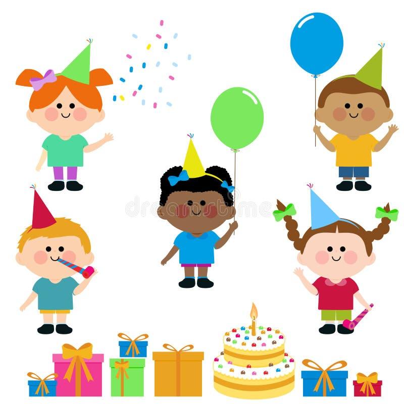 De de partijcake van de jonge geitjesverjaardag en stelt voor vector illustratie