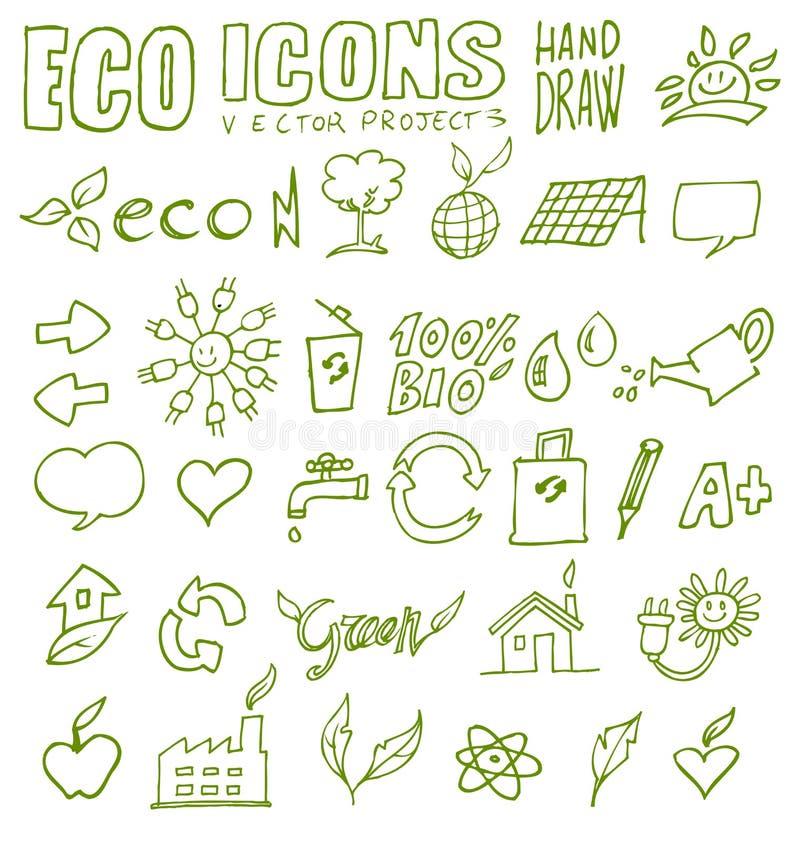 De de pictogrammenhand van Eco trekt 3 stock illustratie