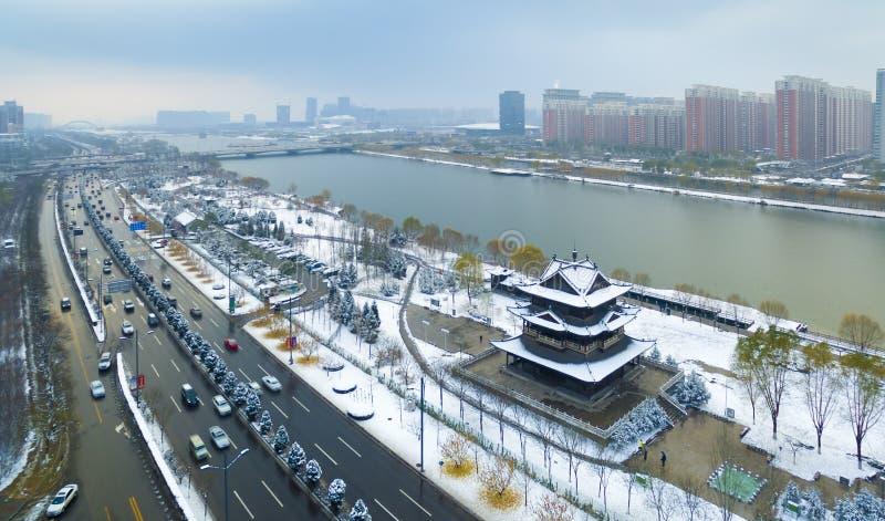 De de rivierwinter China van Tai-Yuan fenhe royalty-vrije stock afbeelding