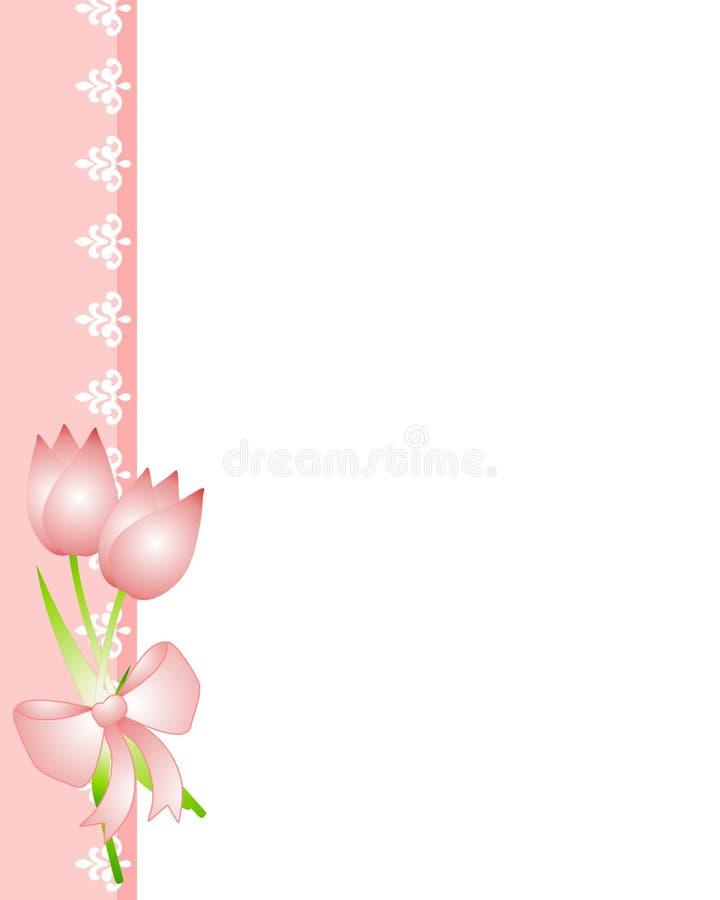 De de roze Tulpen van de Lente en Grens van het Kant stock illustratie