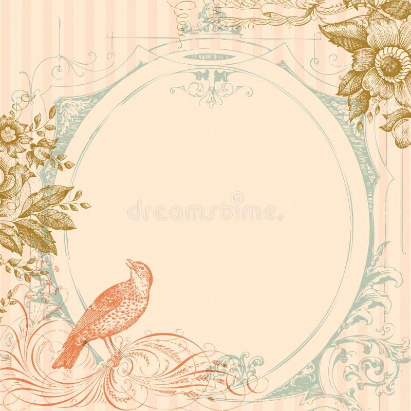 De de roze Vogel van het Huwelijk en Achtergrond van Bloemen royalty-vrije illustratie