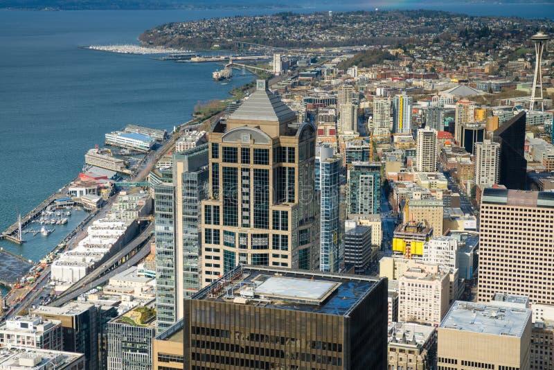 De de RuimteNaald en horizon van Seattle stock afbeeldingen
