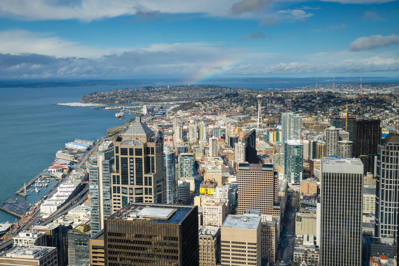 De de RuimteNaald en horizon van Seattle stock foto's