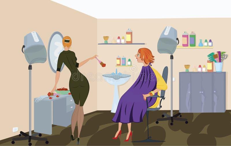 De de salonarbeider van de schoonheid past haarkleurstof toe royalty-vrije illustratie