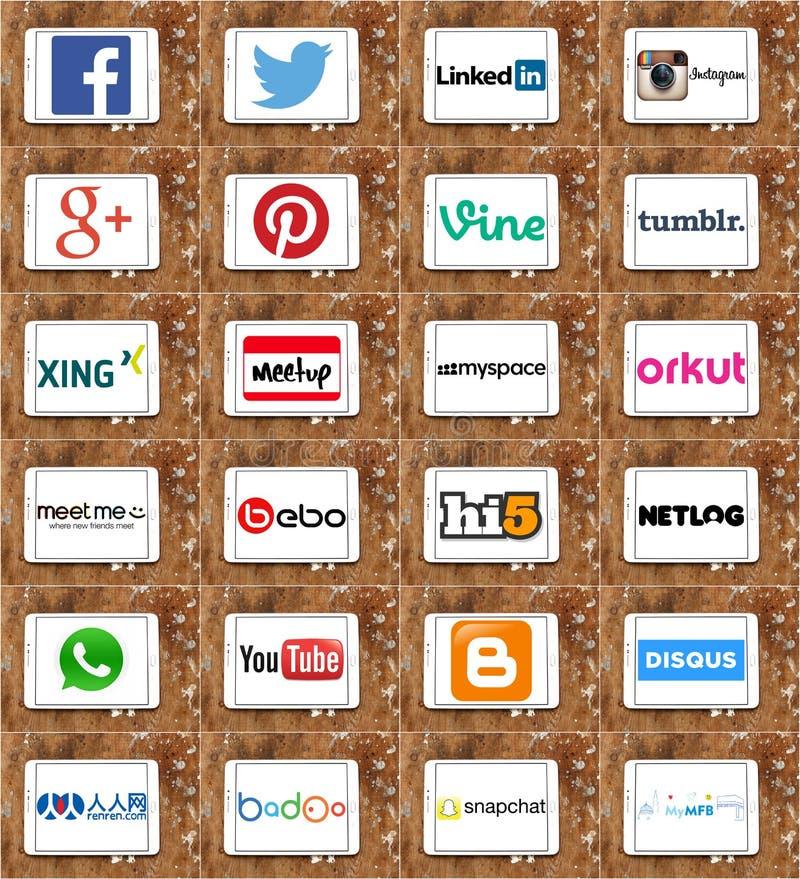 De de sociale emblemen en merken van voorzien van een netwerkwebsites royalty-vrije illustratie